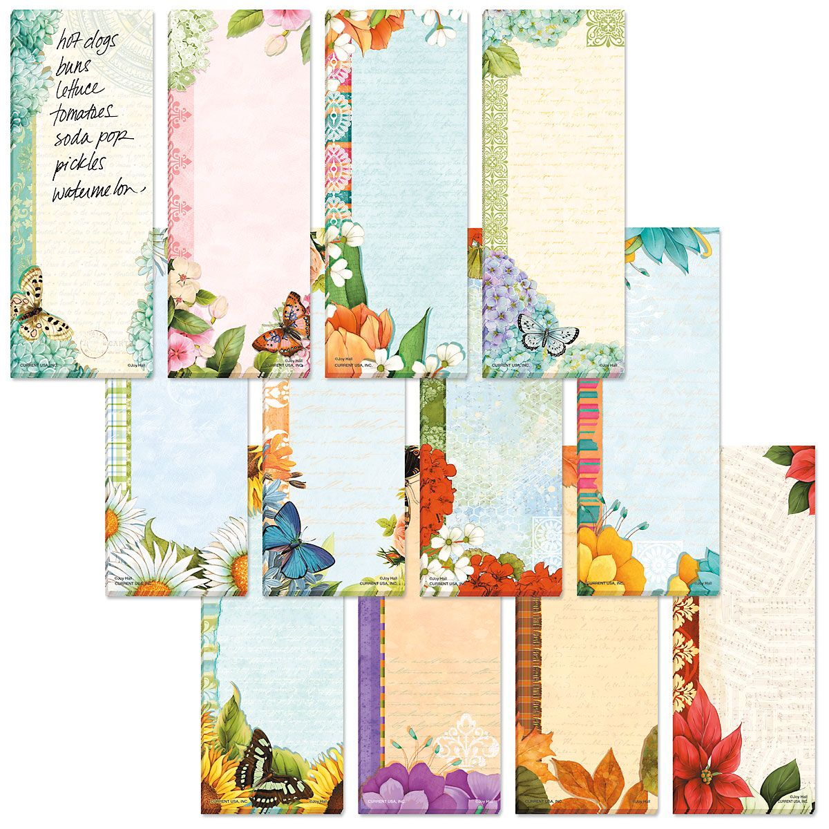 Floral Magnetic Shopping List Pads Value Pack