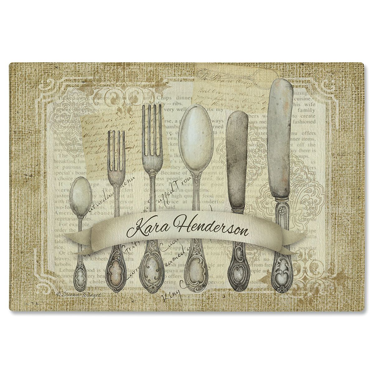 Silverware Tempered Glass Cutting Board