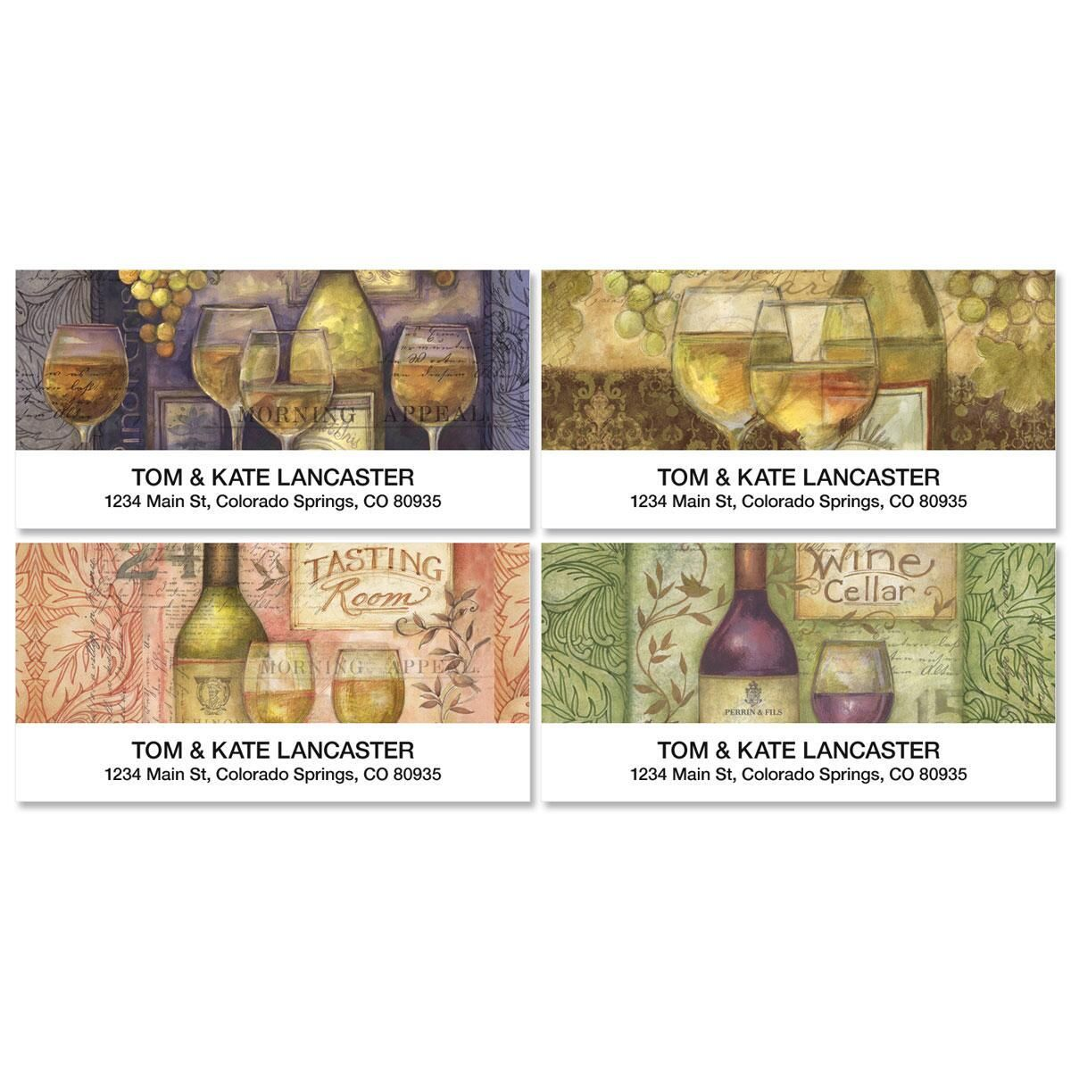 Wine Cellar Deluxe Address Labels (4 designs) Coordinating 4-design sets of 144 address labels are also available, separately or in a money-saving combination with your checks - 144 labels per box of checks. Specify line 1 up to 35 characters and line 2 up to 50 characters.  Susan Winget