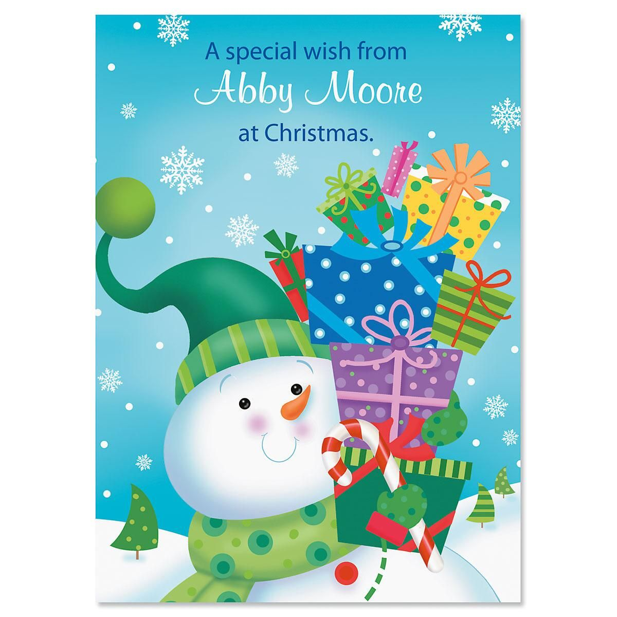 Snowman with Gifts Personalized Classic Christmas Cards