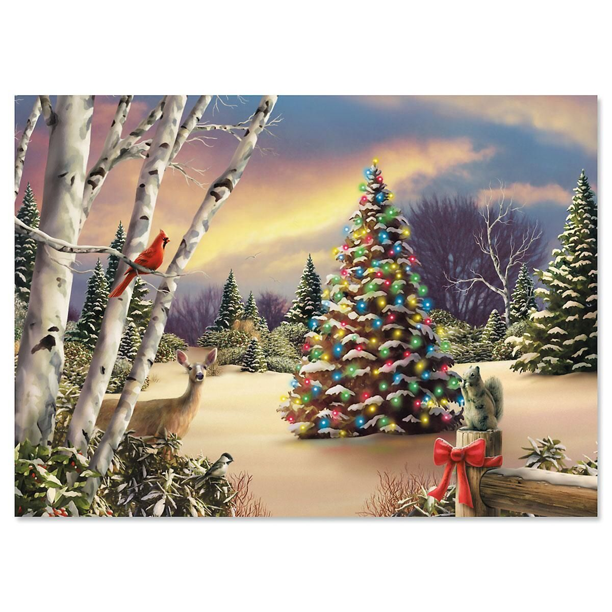 Innocent Light Personalized Christmas Cards - Set of 18