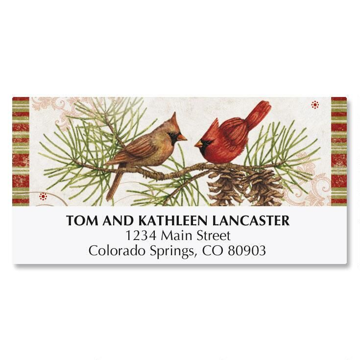 Christmas Birds Deluxe Address Labels