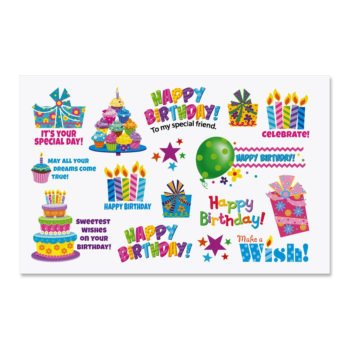 Bright Birthday Stickers
