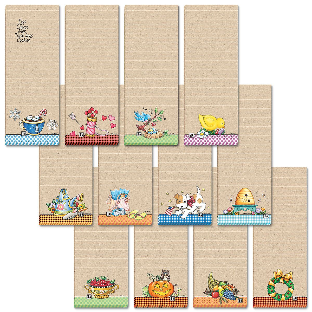 Mary Engelbreit Lined Magnetic Shopping List Pads Value Pack Add Mary's delightful artwork to quality kraft paper, and voilá — 12 lined 30-sheet pads to brighten your kitchen. Set of 12 designs includes magnetic backing; 2-1/2  x 6-1/2  long. Set of 12; (1 of each design) ©2018 Mary Engelbreit Enterprises, Inc.