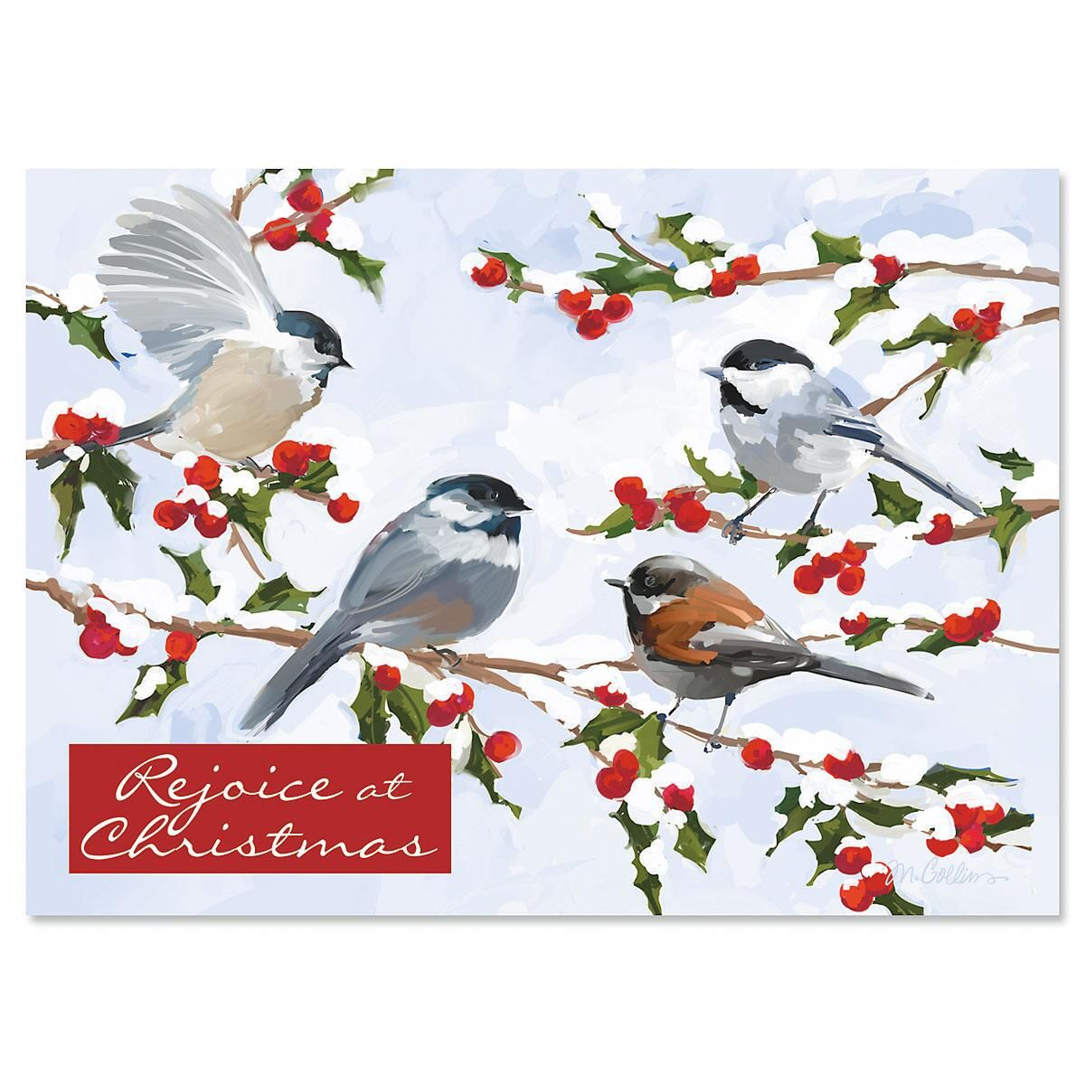 Chickadees and Berries Personalized Christmas Cards - Set of 18