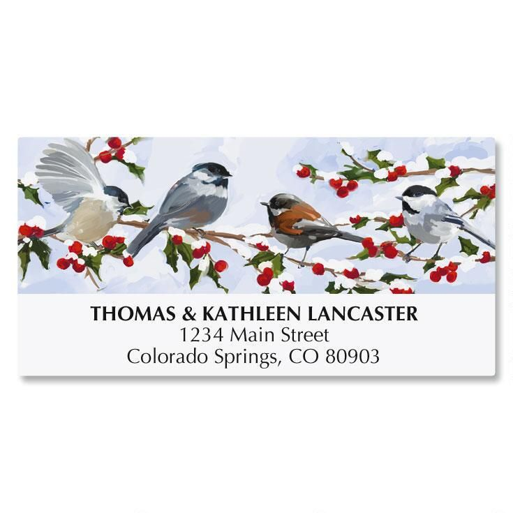 Chickadees and Berries Address Labels