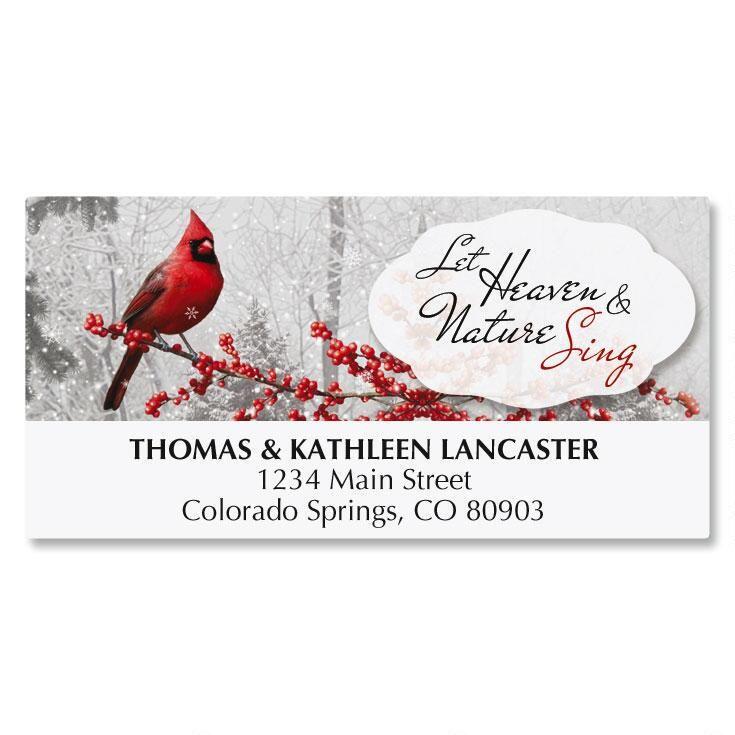 Winterberry Cardinal Address Labels