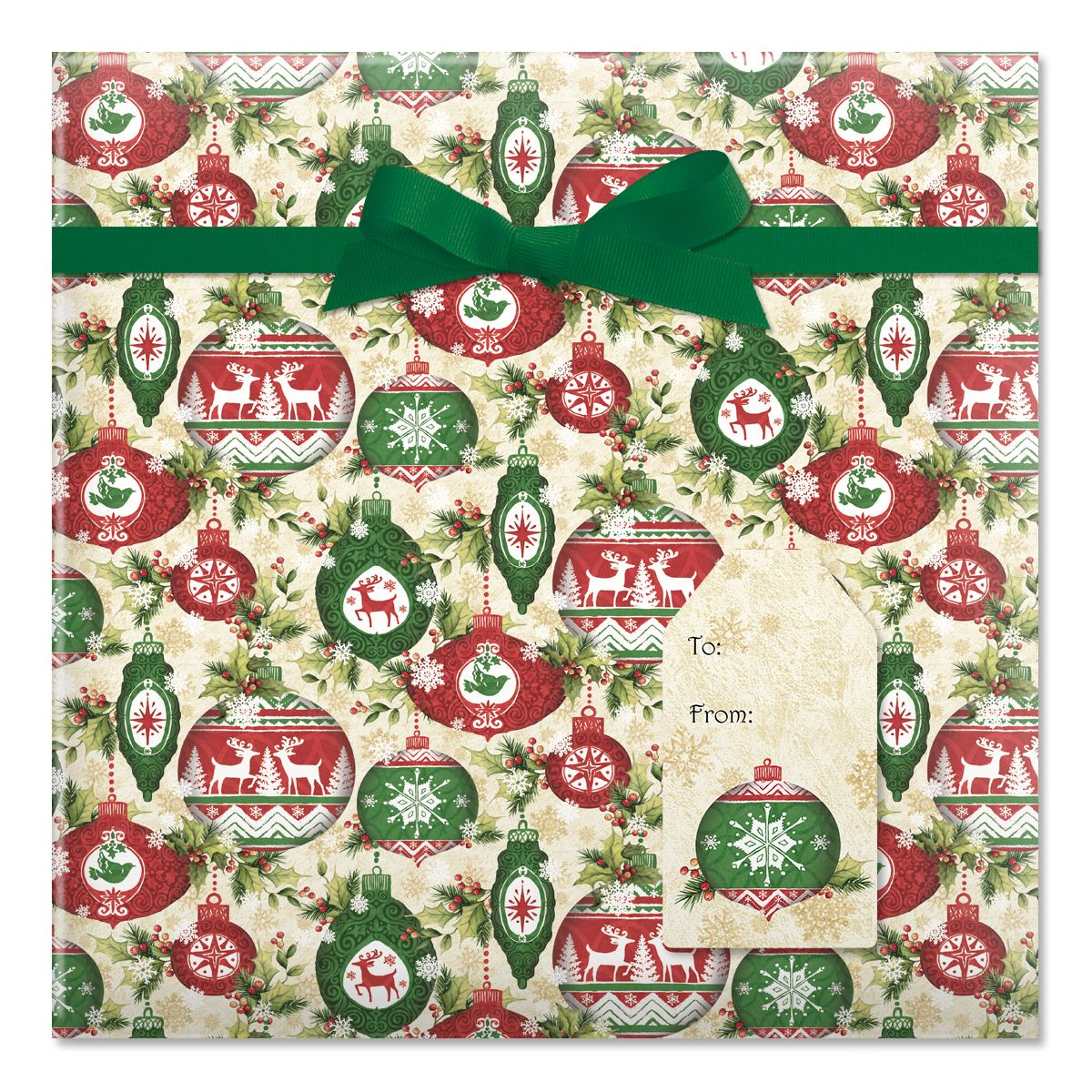 Ornaments on Garland Jumbo Rolled Gift Wrap and Labels