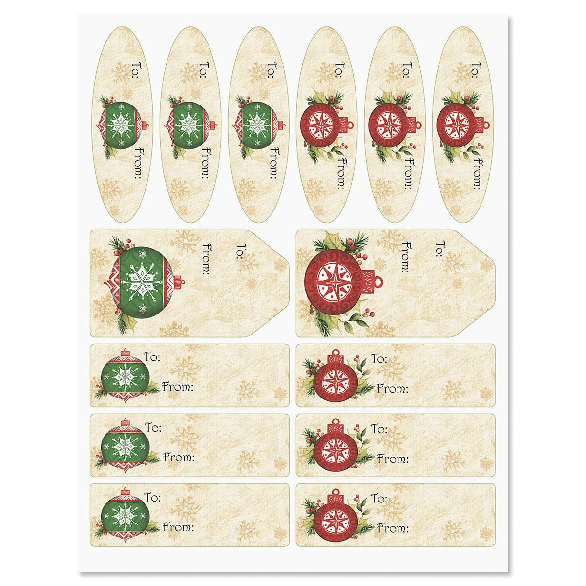 Ornaments on Garland Labels