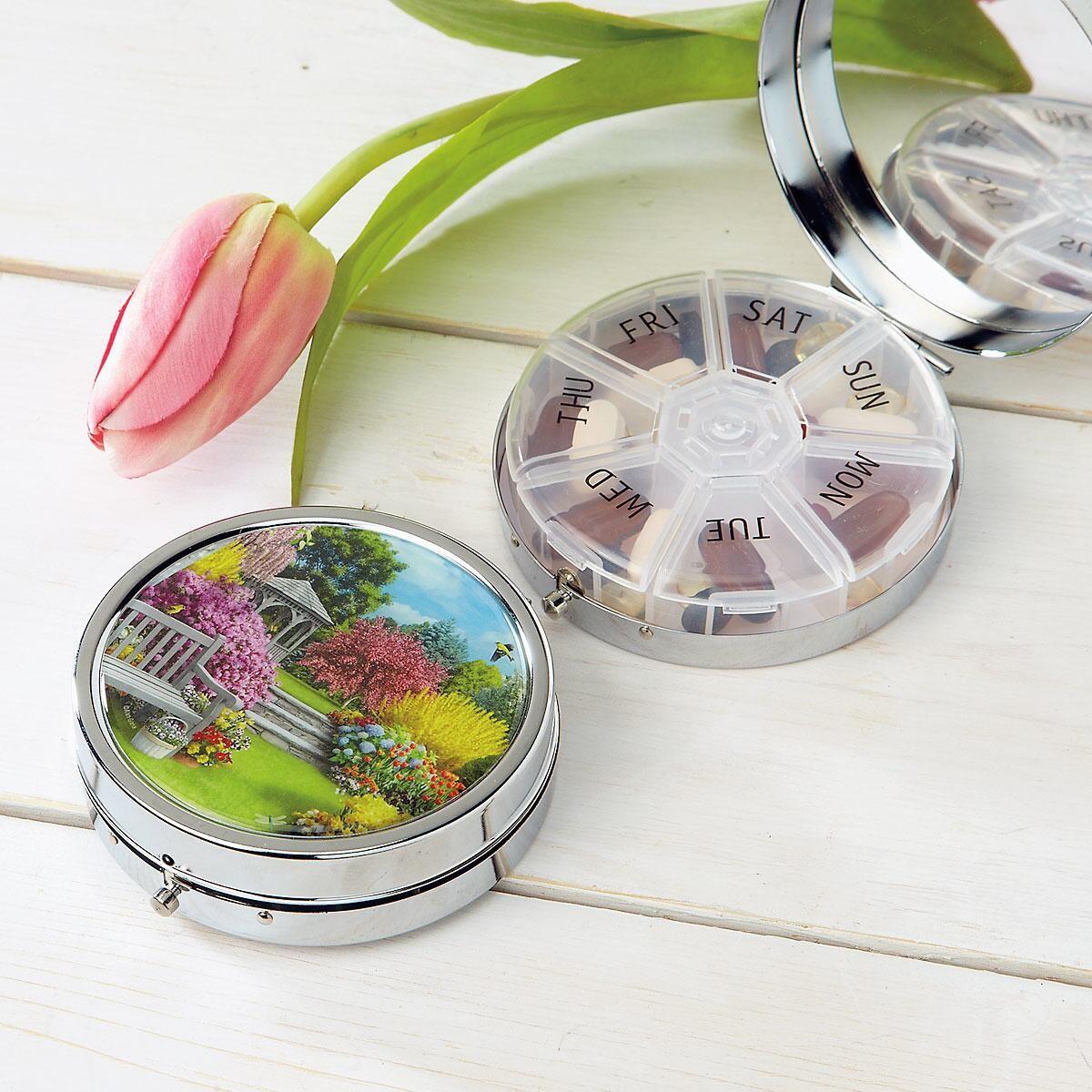 Serenity Decorative Round Metal Pill Box