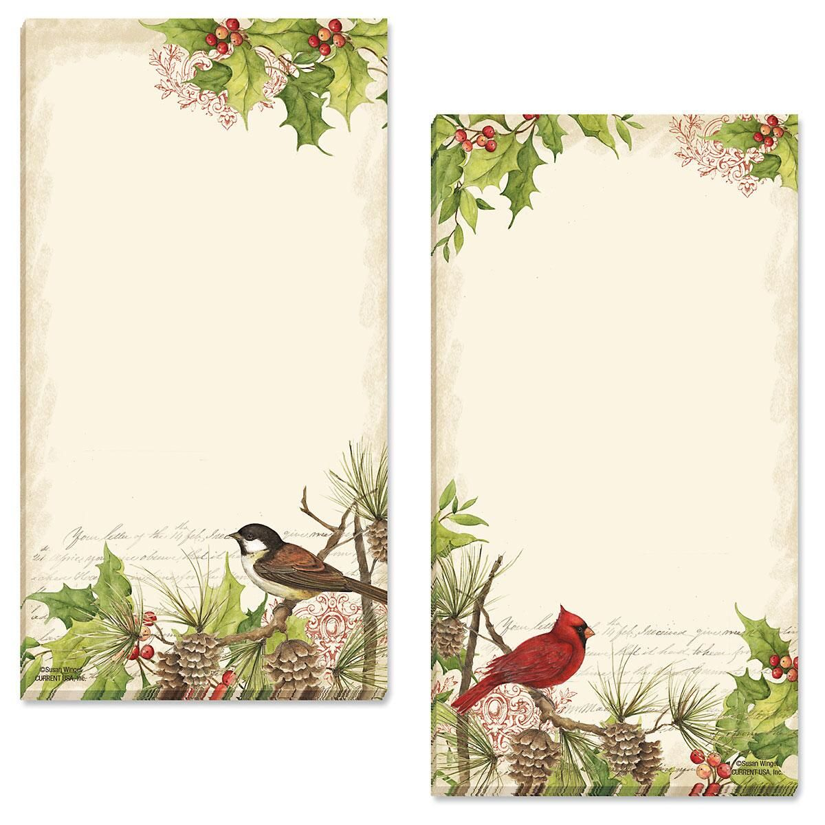 Holly & Birds Magnetic Notepads