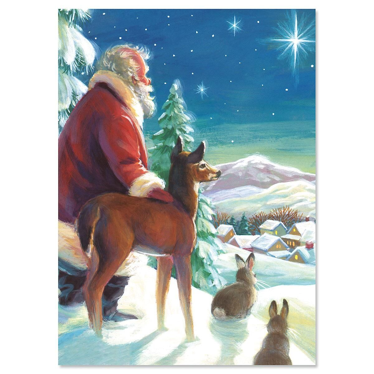 Santa and Star Nonpersonalized Christmas Cards - Set of 18