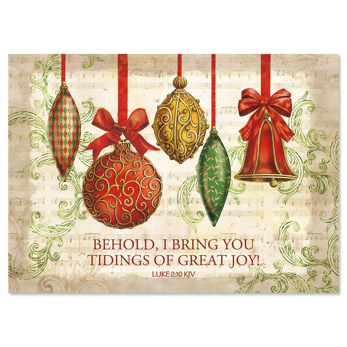 Ornaments Nonpersonalized Christmas Cards - Set of 18