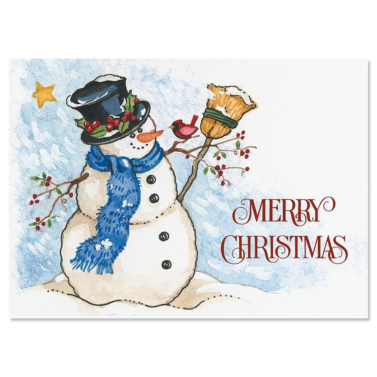 Snowman & Sweet Bird Nonpersonalized Christmas Cards