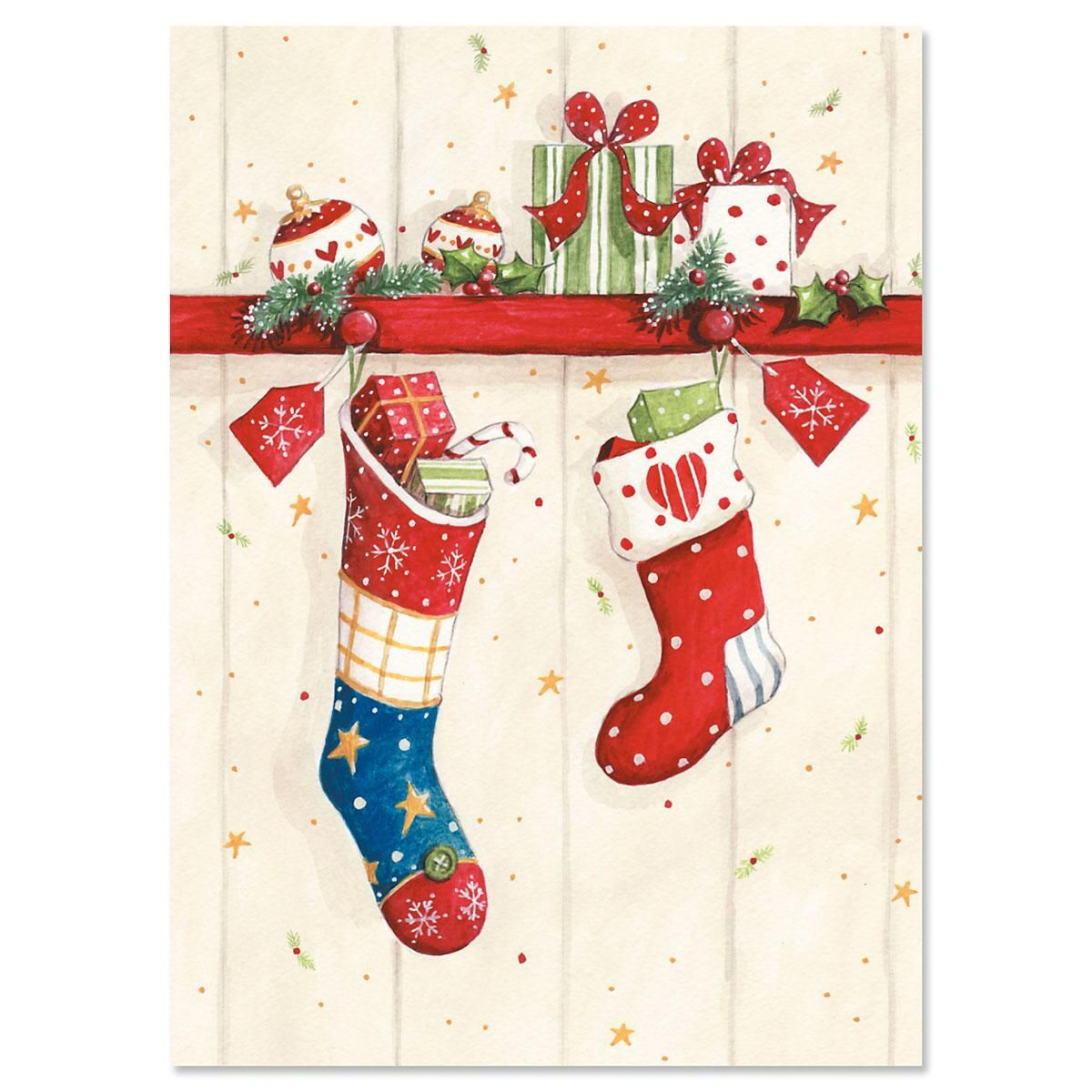 Sweet Stockings Nonpersonalized Christmas Cards - Set of 18