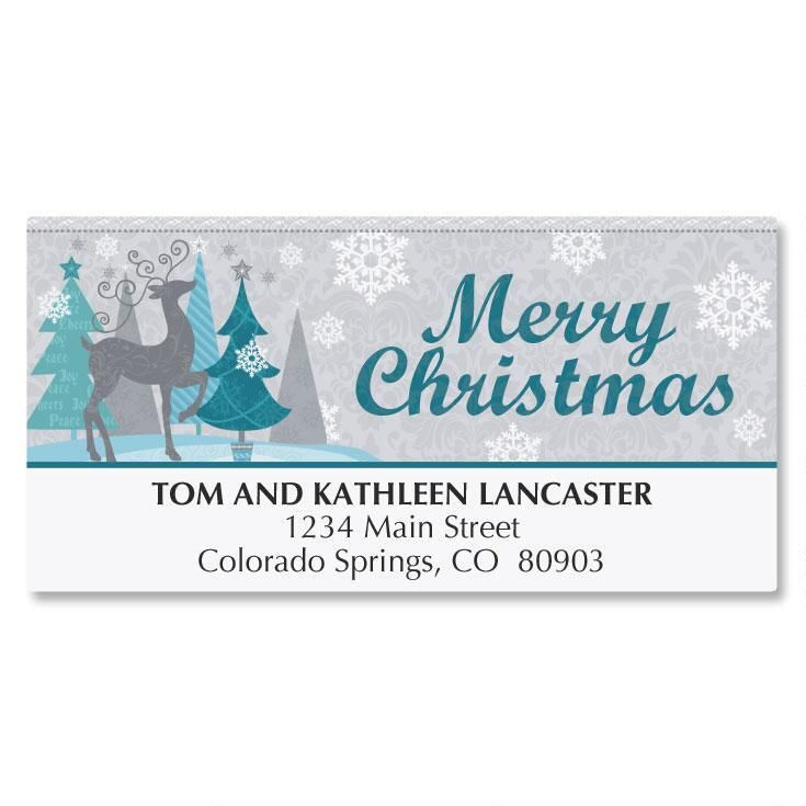 Reindeer Shimmer Deluxe Address Labels