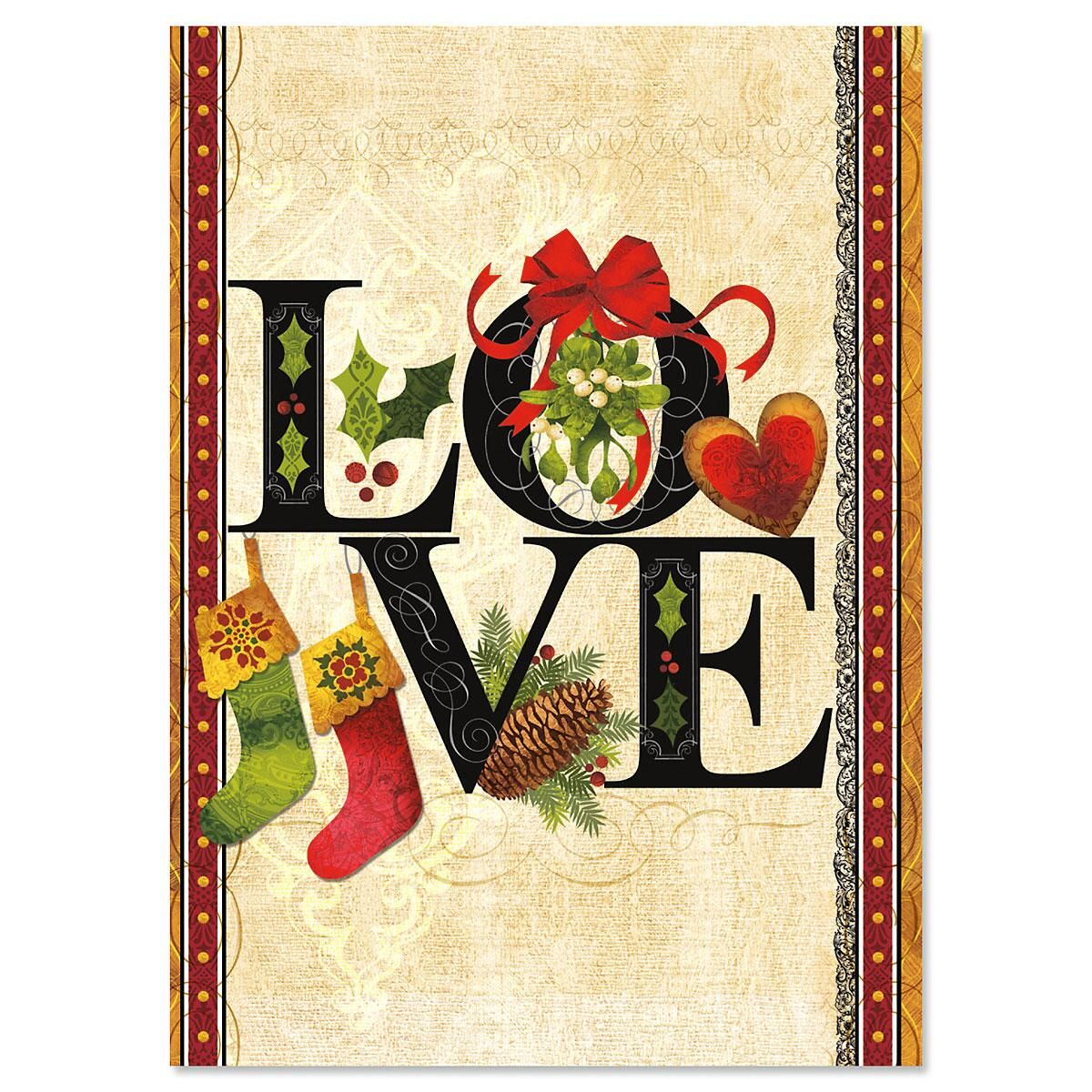 Love Nonpersonalized Christmas Cards - Set of 18