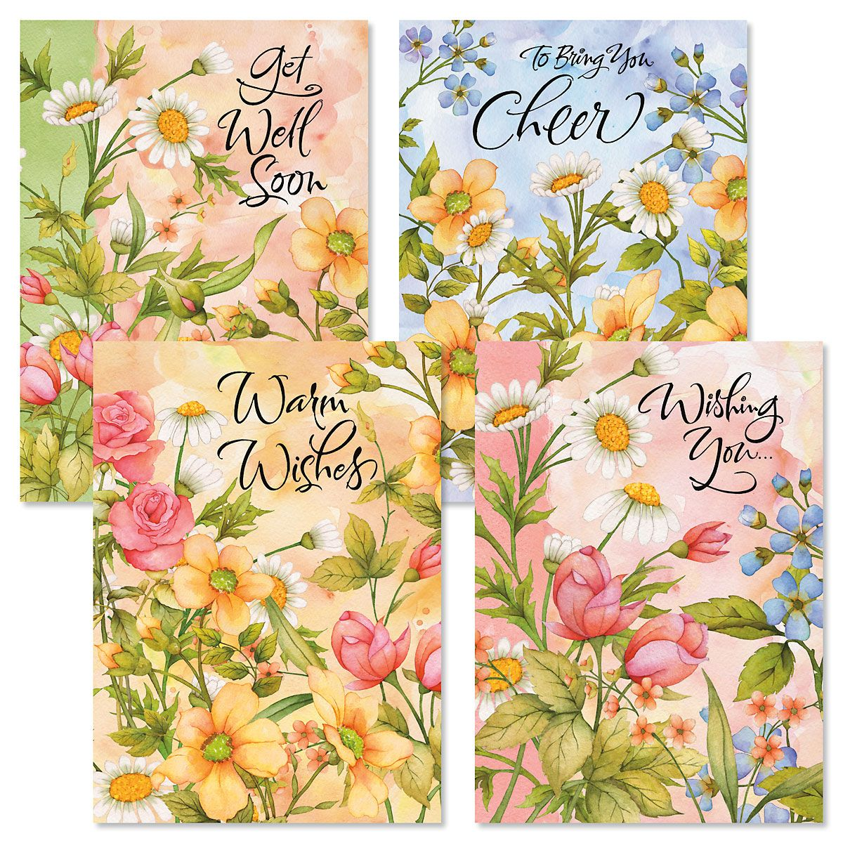 Watercolor Garden Get Well Cards & Seals