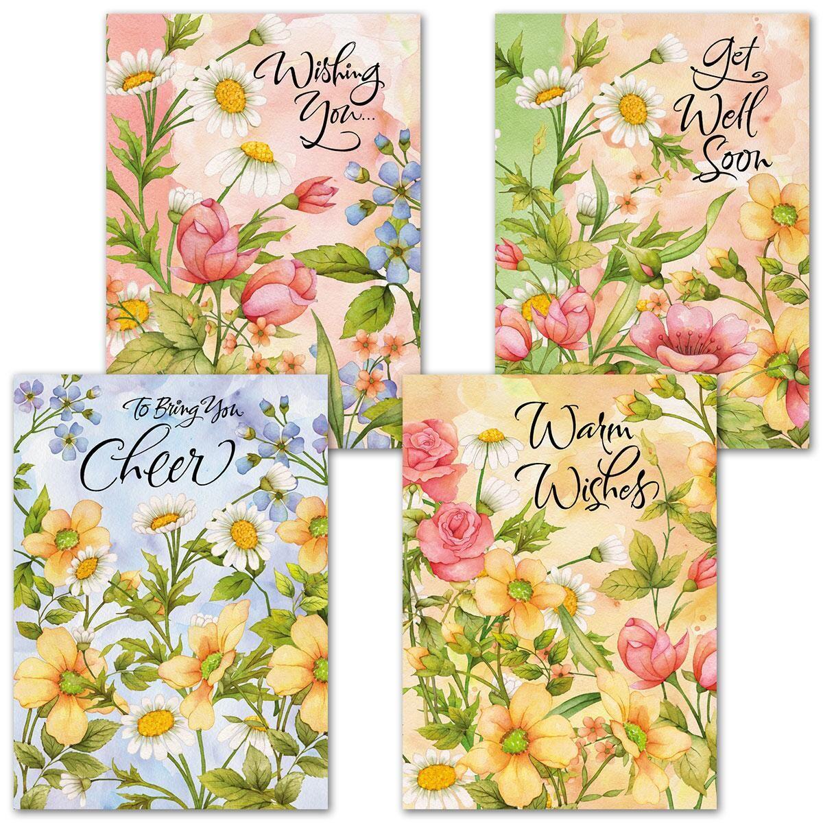 Watercolor Garden Get Well Cards & Seals