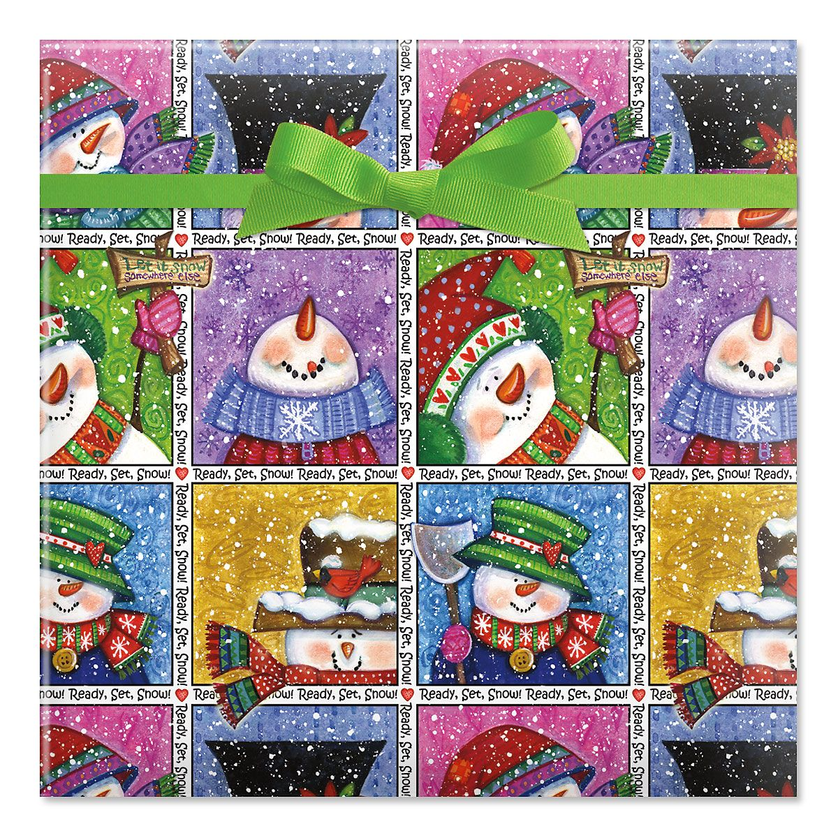 Snowman in Squares Jumbo Rolled Gift Wrap