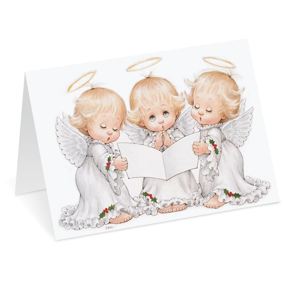 Angel Trio Personalized Christmas Cards - Set of 18