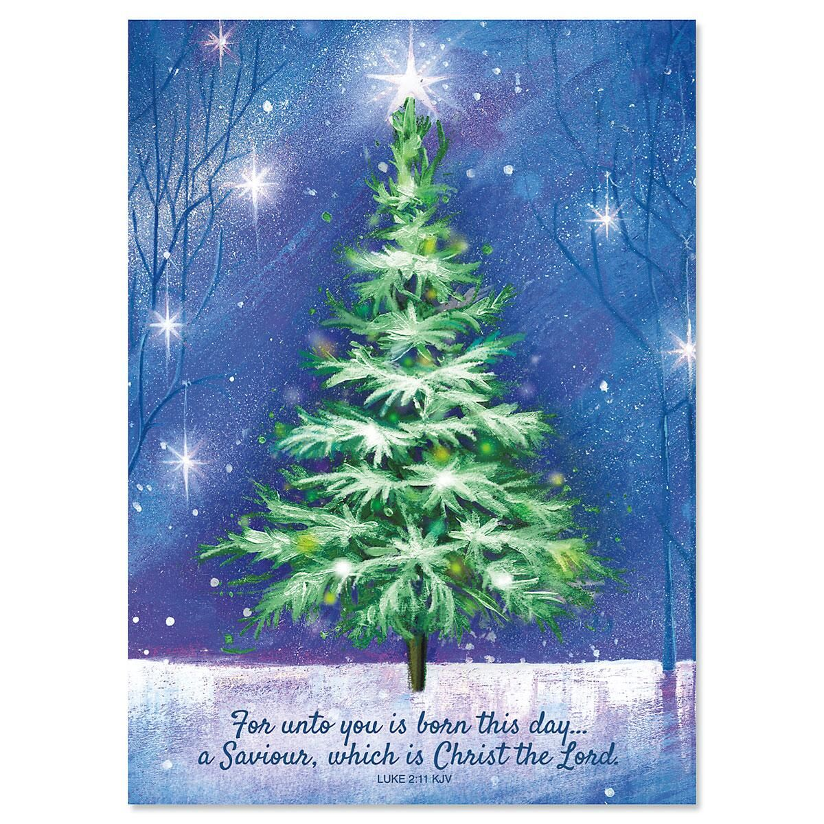 Winter Tree Nonpersonalized Christmas Cards - Set of 72