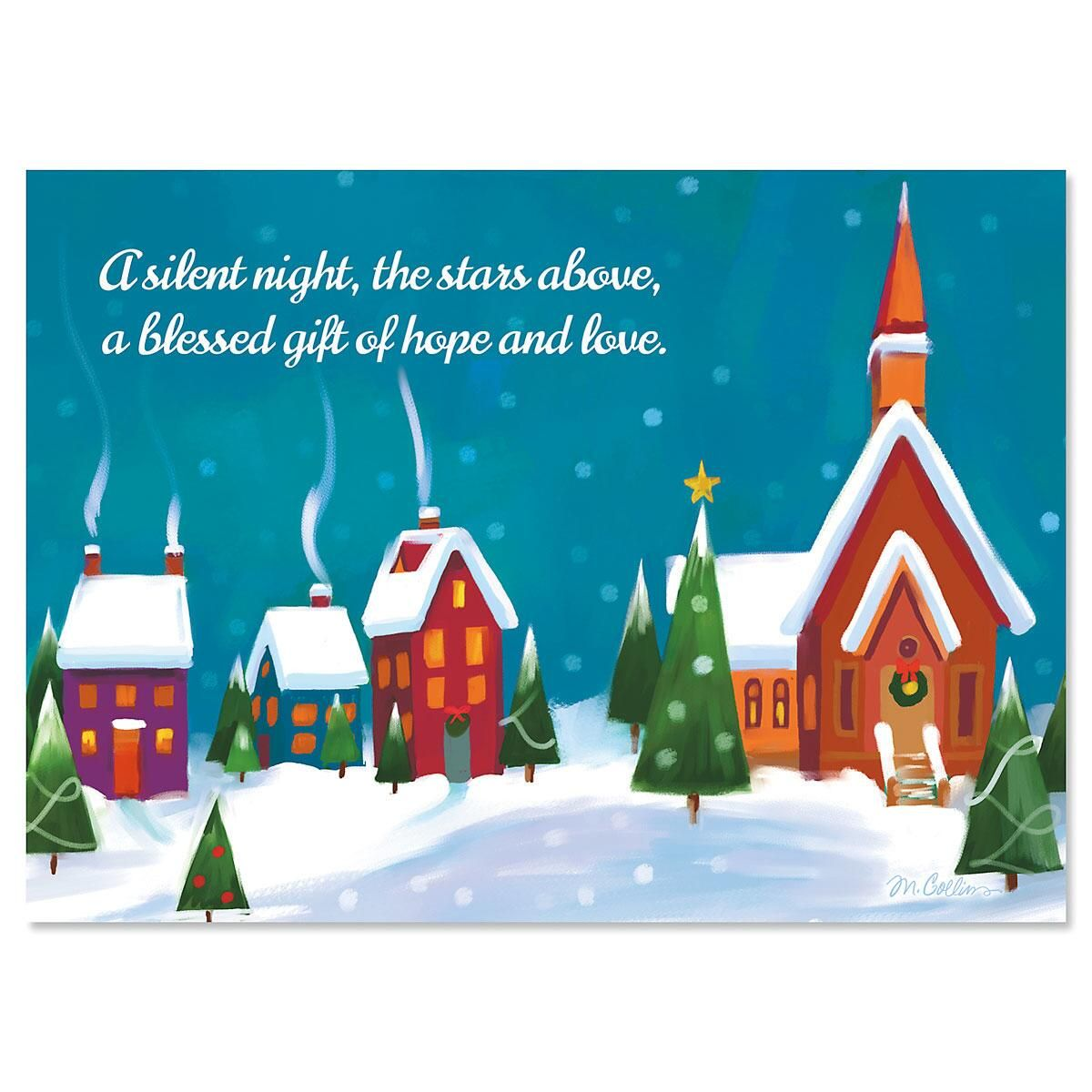 Winter Village Nonpersonalized Christmas Cards - Set of 18