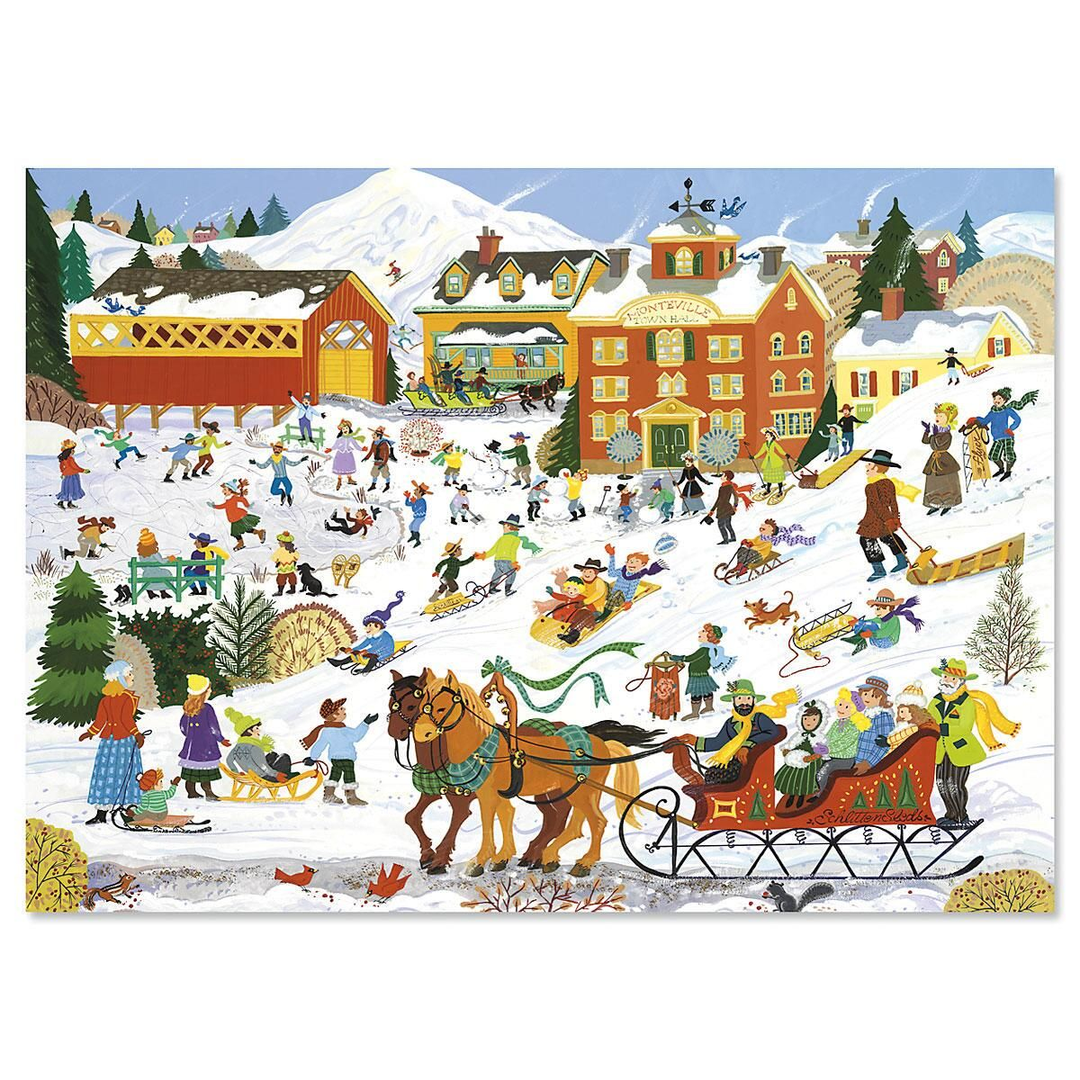 Winter Sports Personalized Christmas Cards - Set of 18
