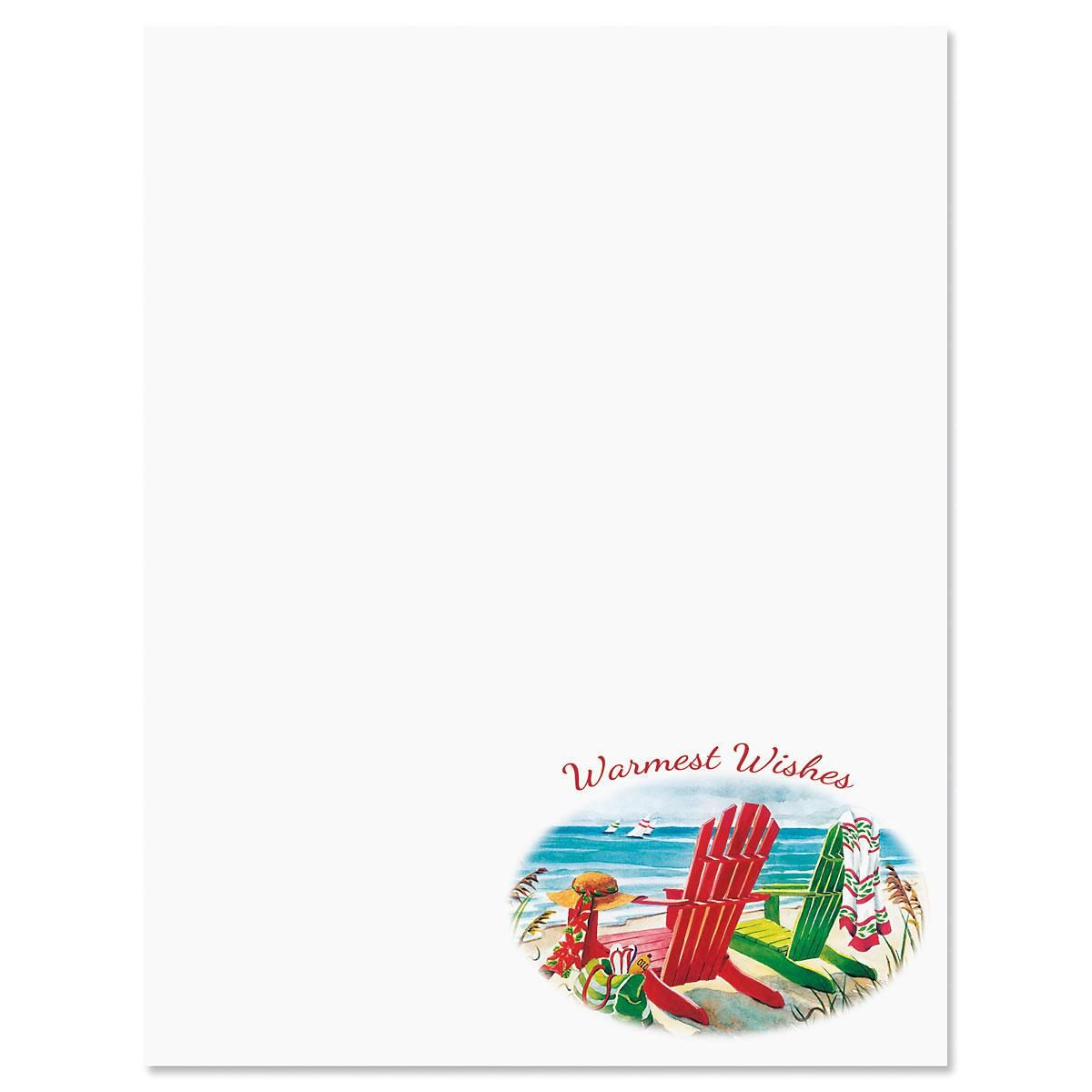 Beach Chairs Christmas Letter Papers