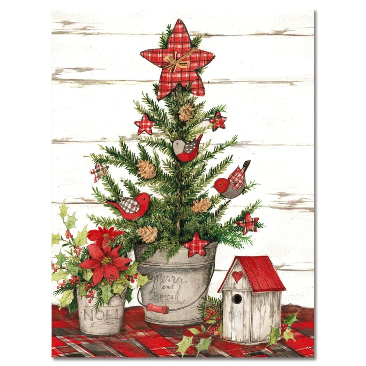 Red Plaid Tree Note Cards