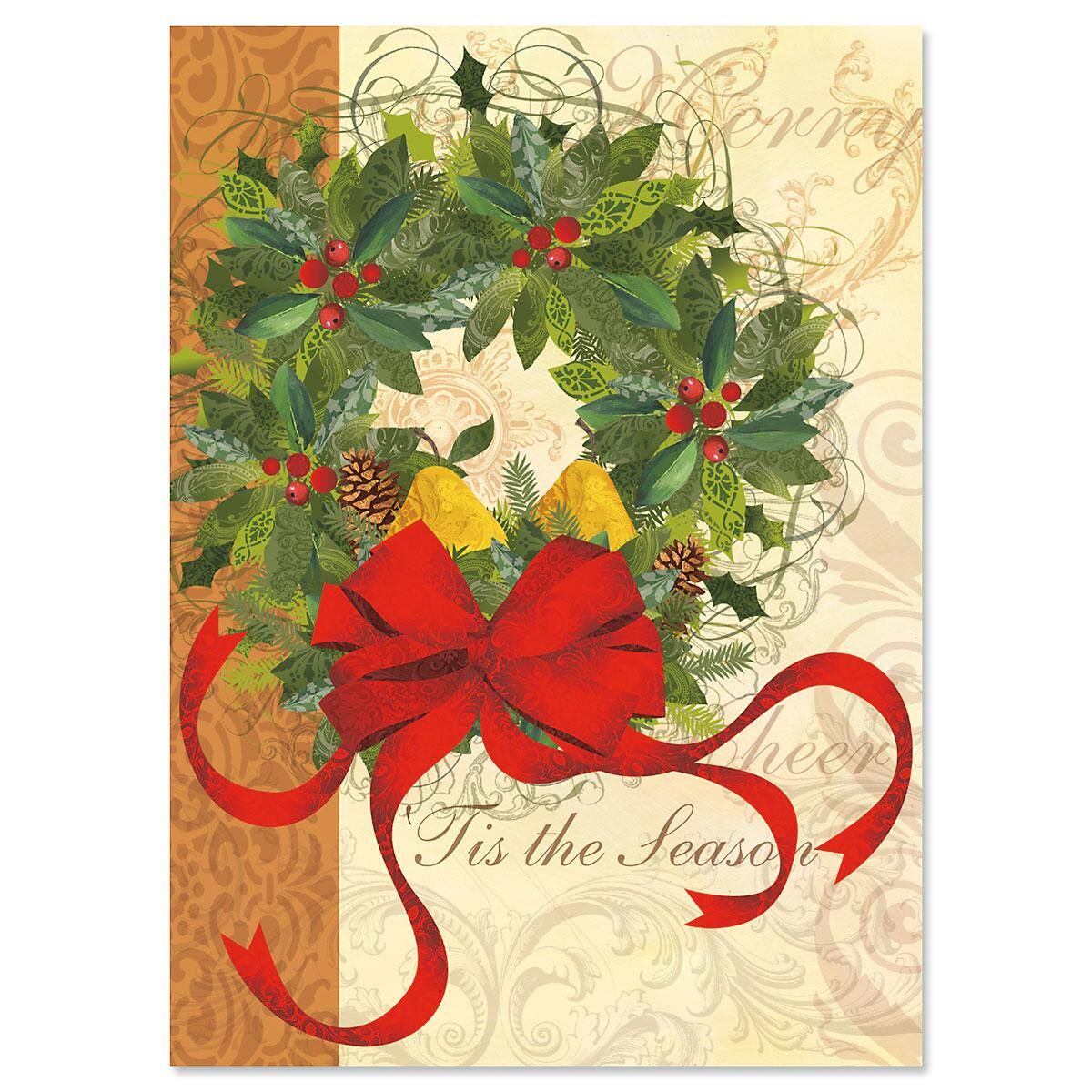 Winter Garden Wreath Nonpersonalized Christmas Cards - Set of 18