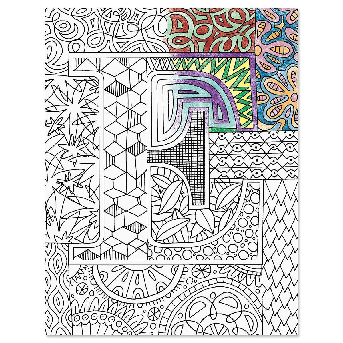 Monogrammed Coloring-Cover Note Cards