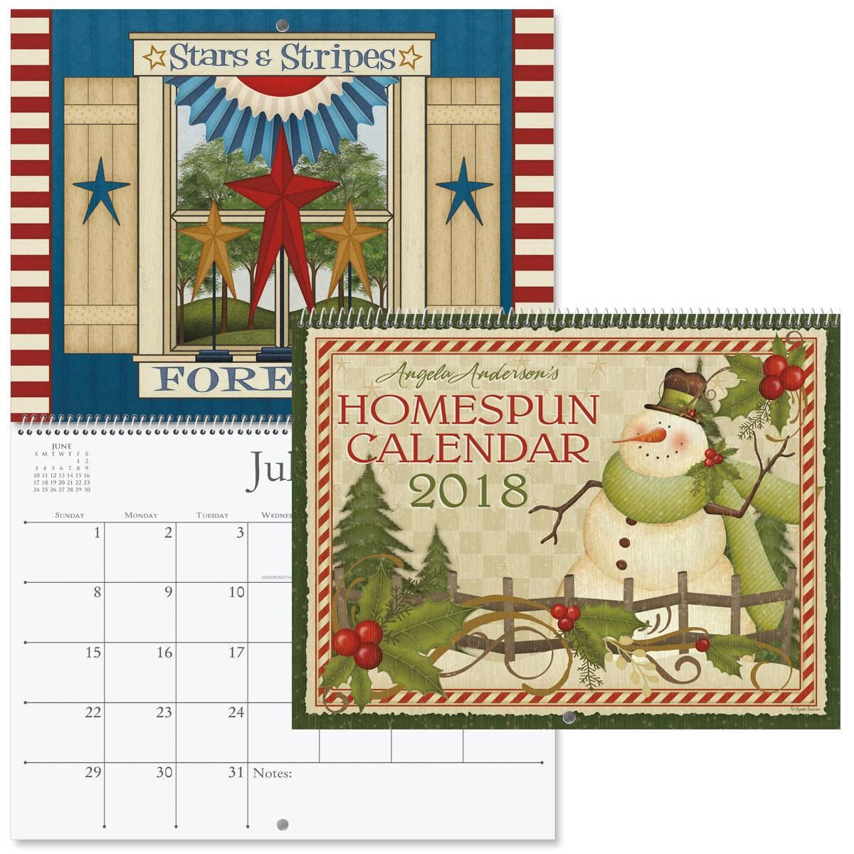 2018 Angela Anderson's Homespun Wall Calendar