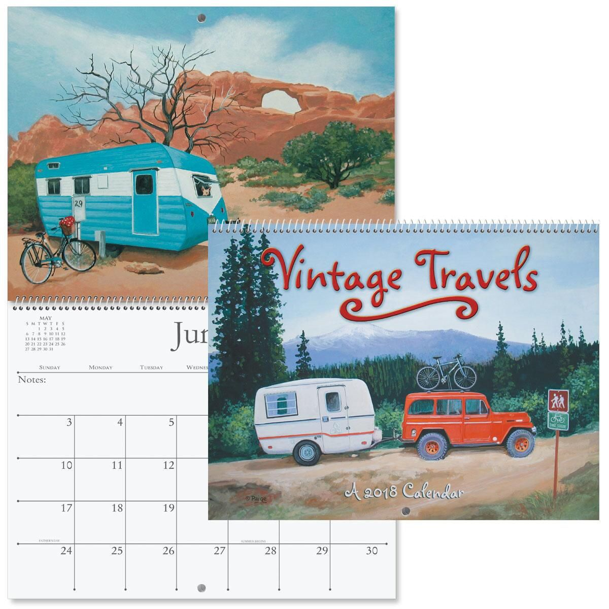 2018 Vintage Travel Wall Calendar
