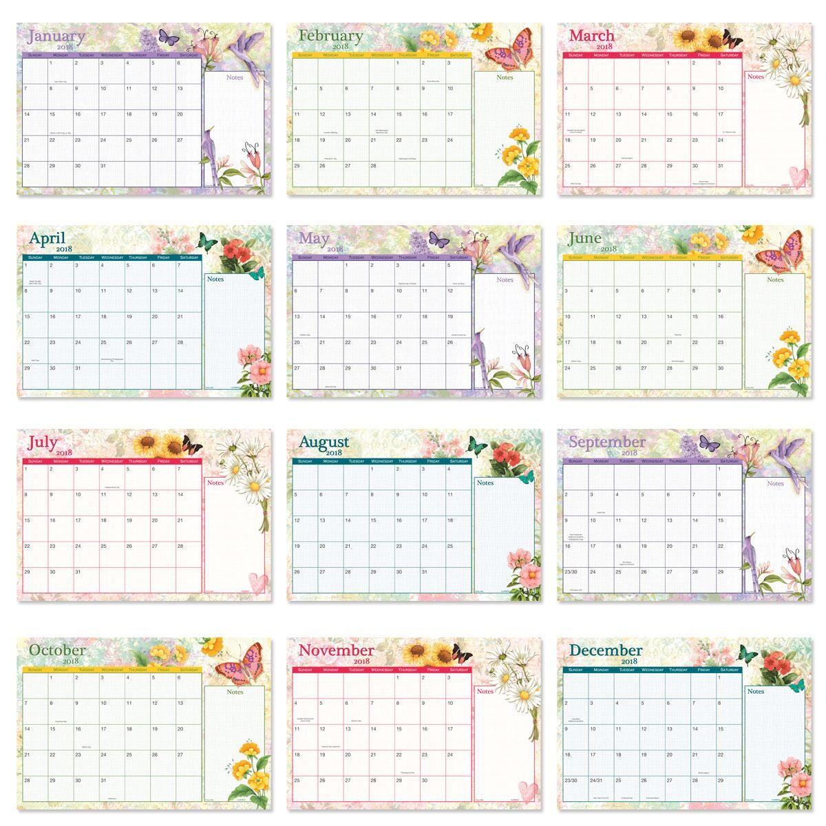 2018-2019 Watercolor Garden Calendar Pad