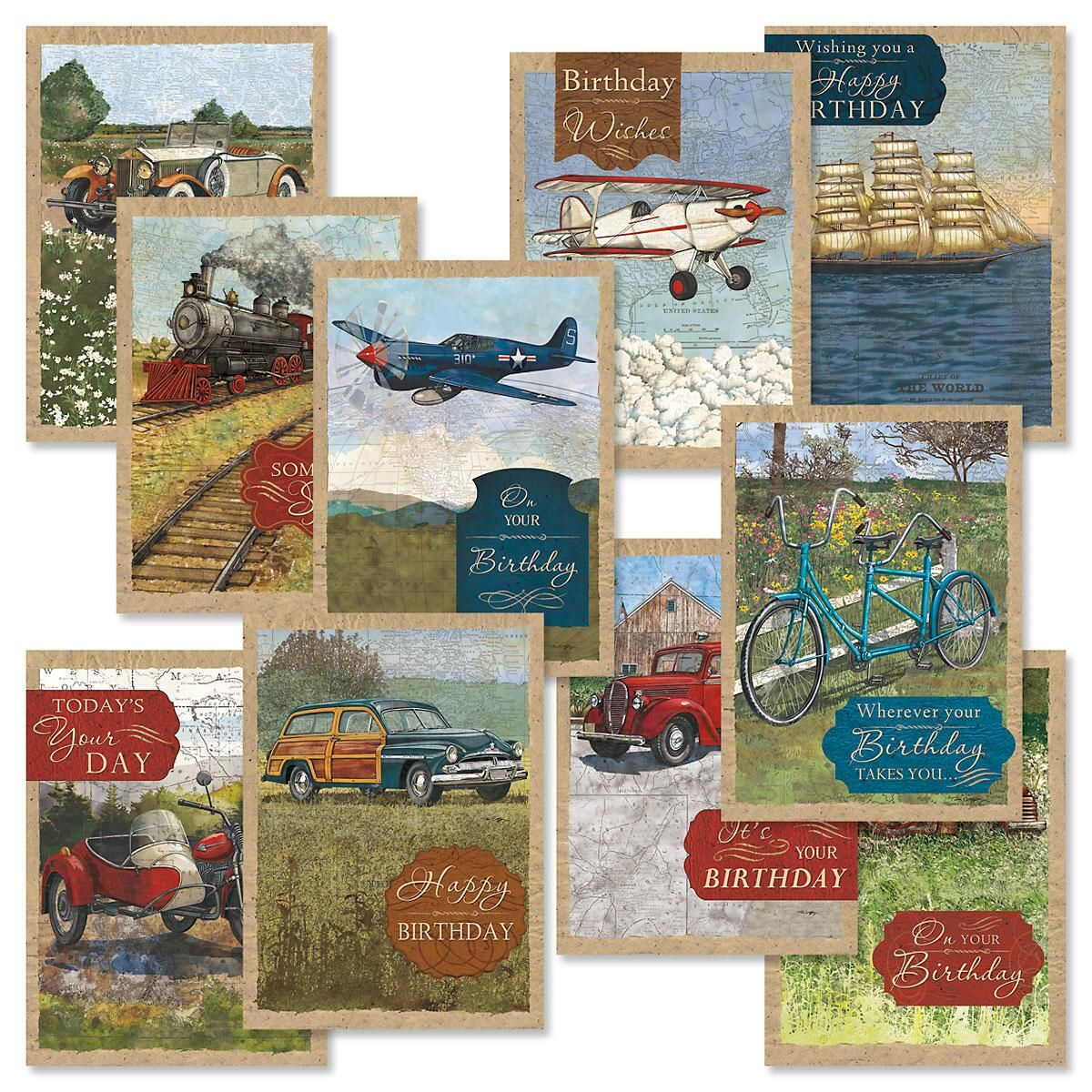 Vintage Travel Birthday Cards Value Pack