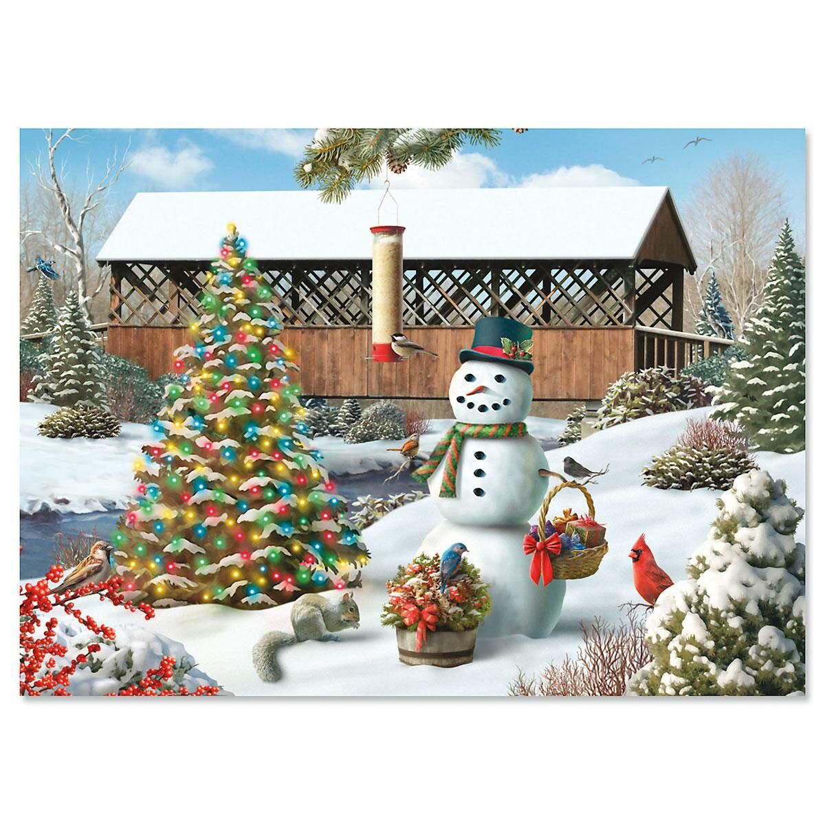 Countryside Personalized Christmas Cards - Set of 18