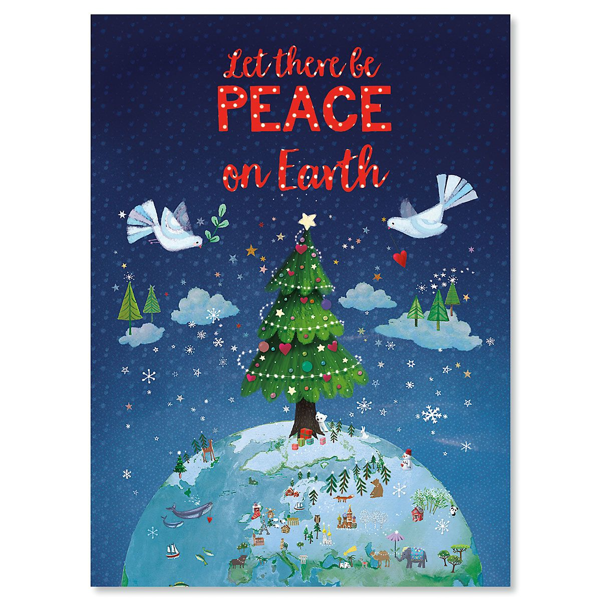 Let There Be Peace Personalized Christmas Cards - Set of 18