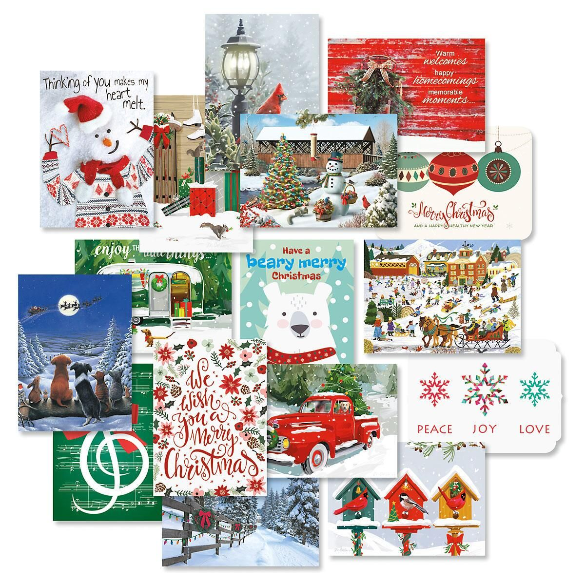 Classic Christmas Card Combo Pack - Set of 32