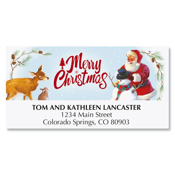 Snowman, Santa and Deer Deluxe Address Labels