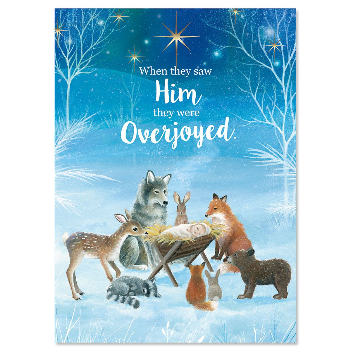 Forest Christmas Manger Nonpersonalized Christmas Cards - Set of 72
