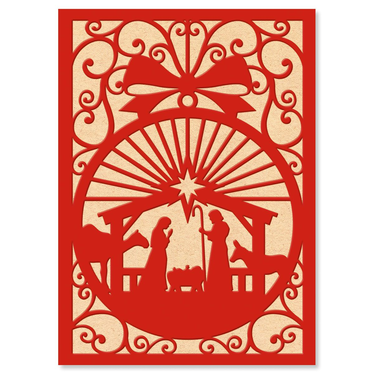 Red and White Manger Nonpersonalized Christmas Cards