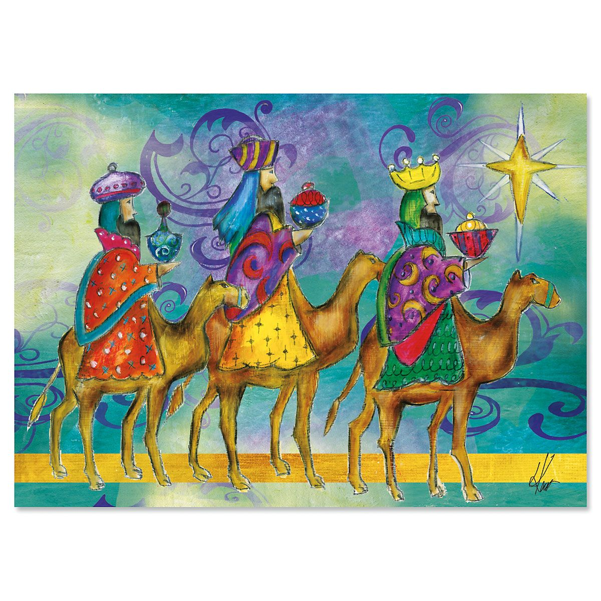 Wise Men Peace Nonpersonalized Christmas Cards - Set of 72