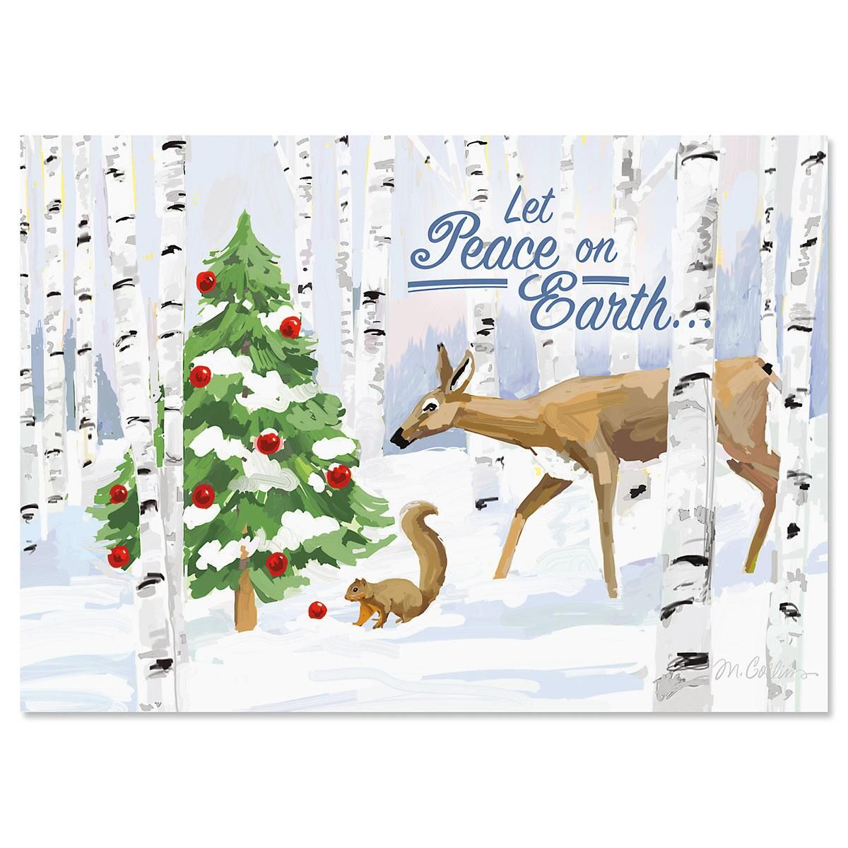 Forest Curiosity Personalized Christmas Cards - Set of 18