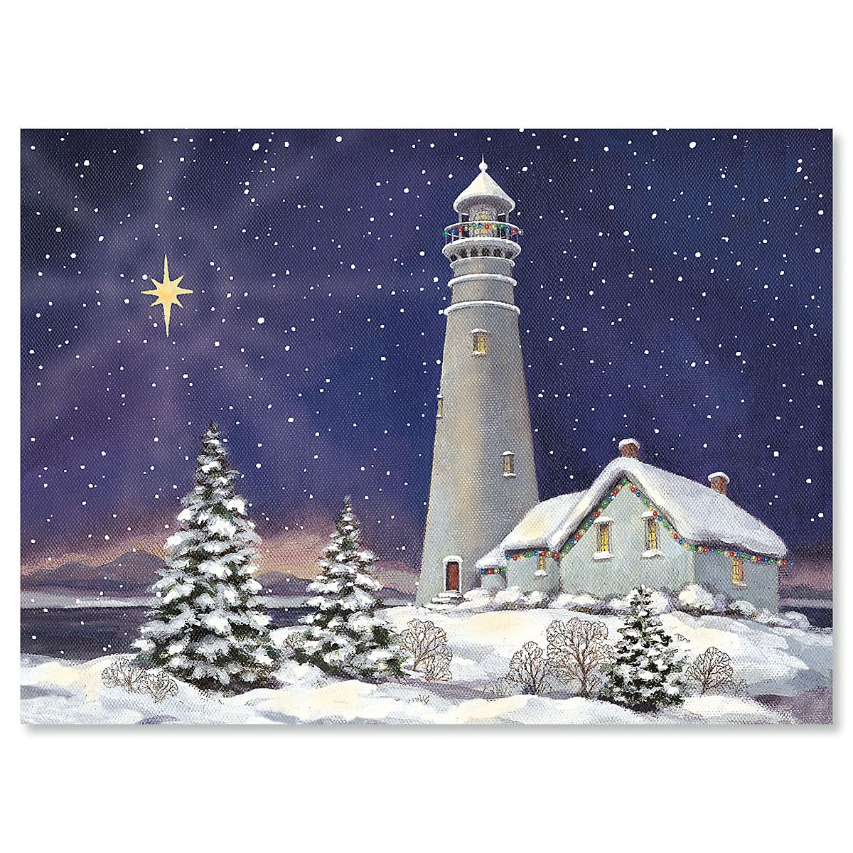 December Light Nonpersonalized Christmas Cards - Set of 72