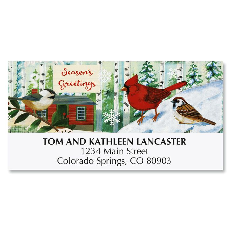 Winter Birds Deluxe Address Labels