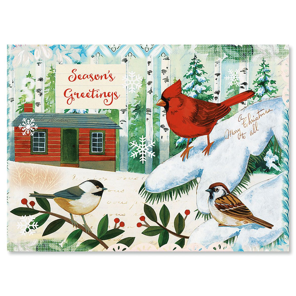 Winter Birds Personalized Christmas Cards - Set of 72