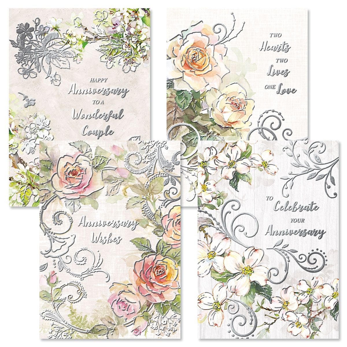 Deluxe Floral Anniversary Cards
