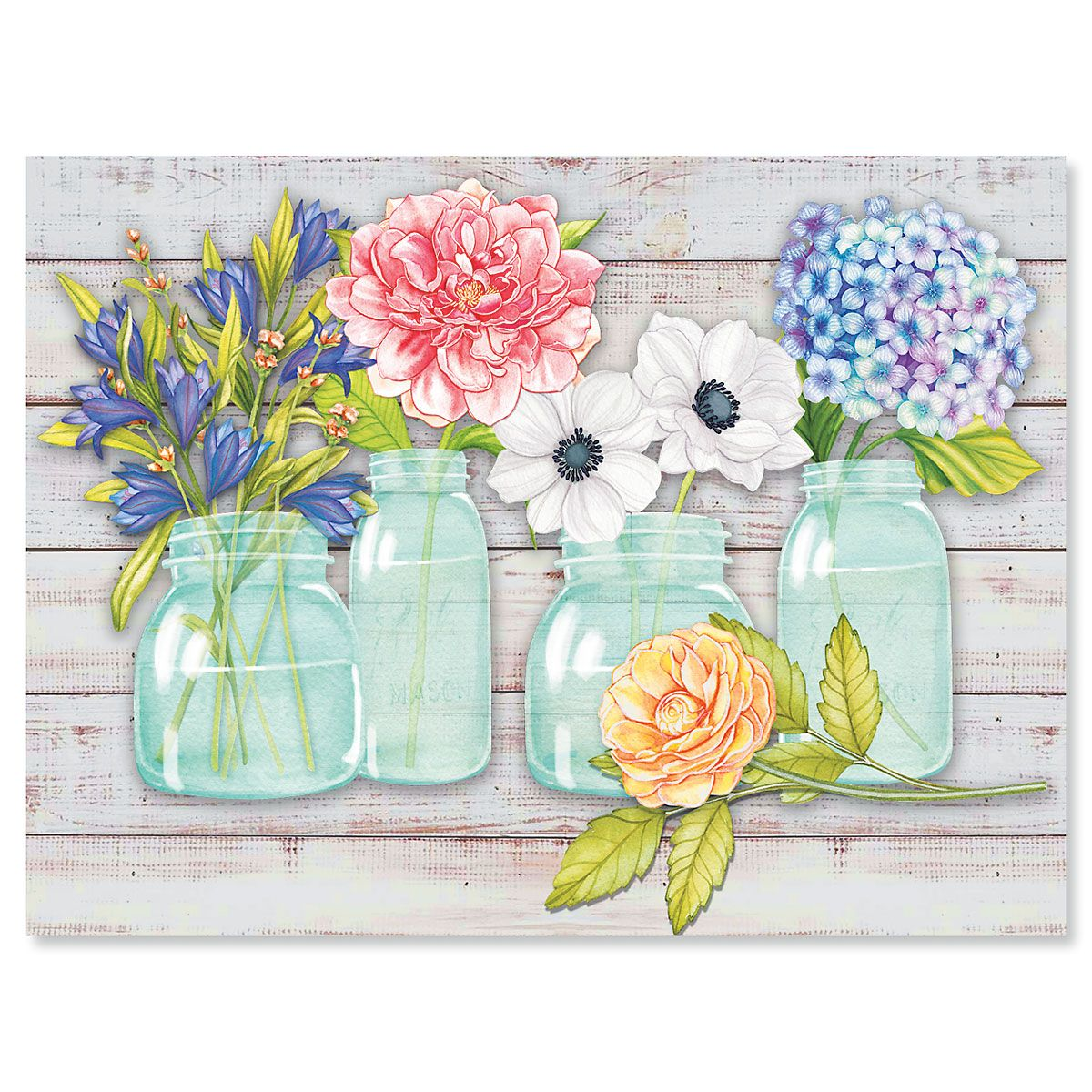 Mason Jar Bouquet Note Cards - BOGO