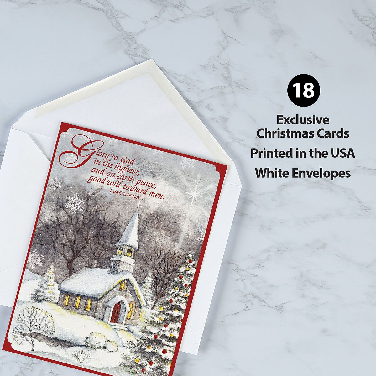 Snowy Church Religious Christmas Cards